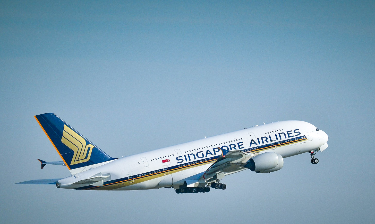 Een Airbus A380 superjumbo van Singapore Airlines
