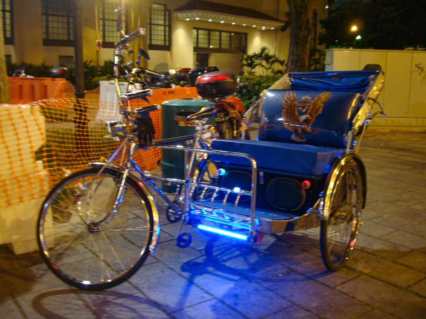 Een fietstaxi in Singapore