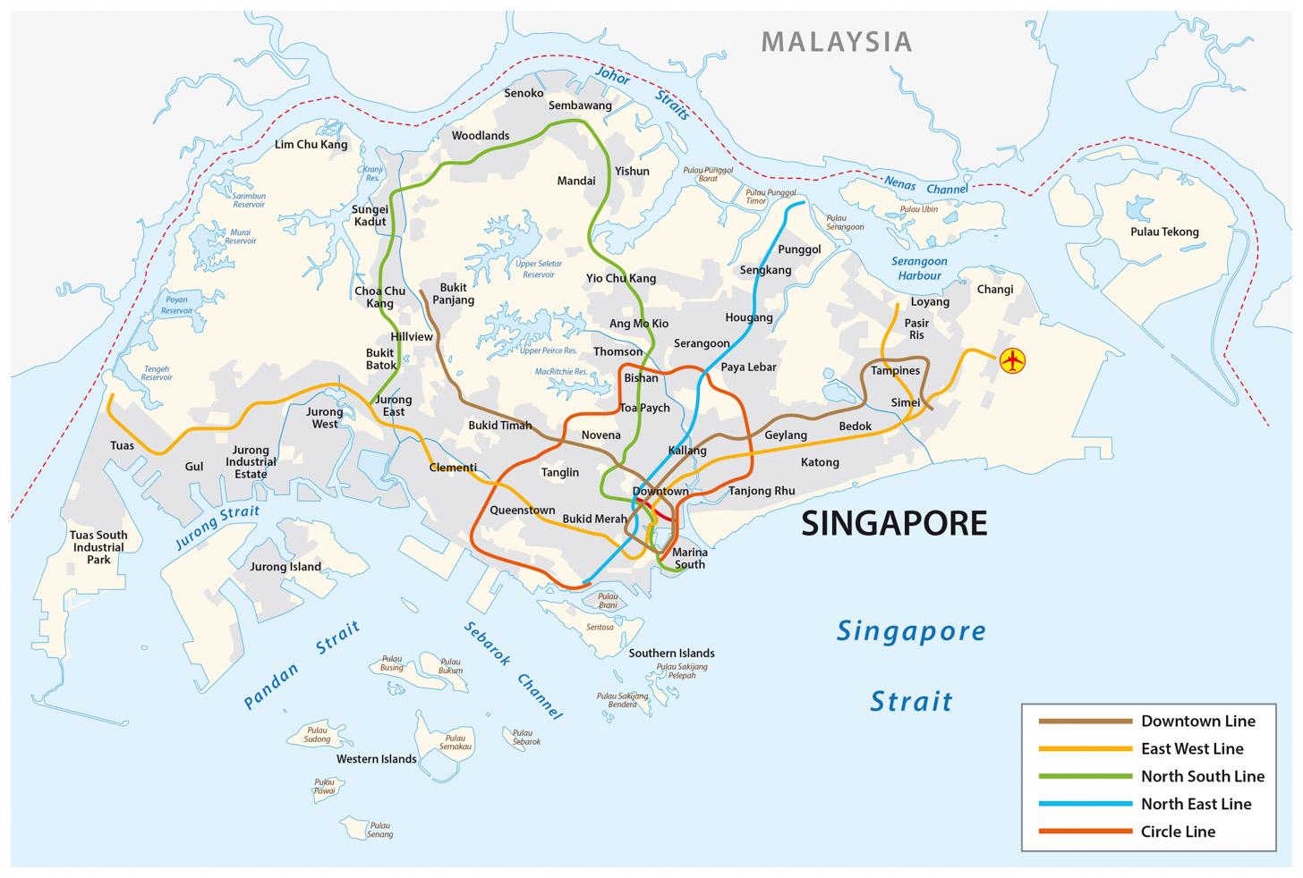 Het MRT netwerk in Singapore